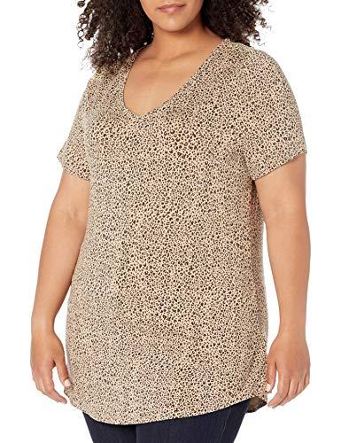Amazon Essentials Plus Size Short-Sleeve V-Neck Tunic Camisa Tipo, Mini Leopardo, XL Grande