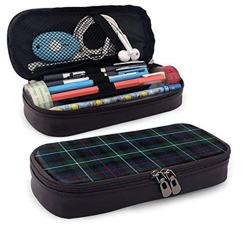 Mackenzie Tartan Plaid Outlander tragbares Federmäppchen aus Leder mit Reißverschluss, Stifthalter für Schule und Büro