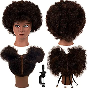 African Mannequin Head with 100% Human Hair Mannequin Head Curly Cosmetology Manican Mannequins Heads with Stand for Display Practice Braiding Styling Training Head Hair Styling