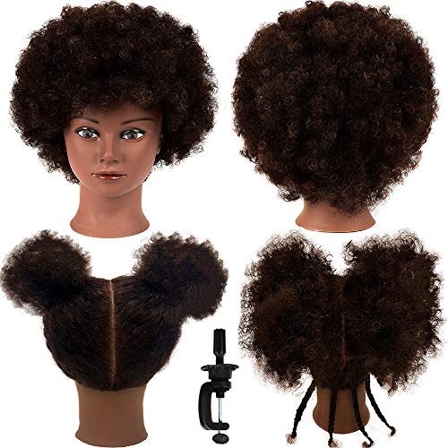African American Mannequin Head with 100% Human Hair Kinky Curly Hair Hairdresser Practice Styling Training Head Cosmetology Manikin Doll Head for Dye Cutting Braiding with Free Clamp