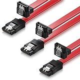 deleyCON 3X 50cm Cable SATA III Cable de Datos S-ATA 3 6 GBit/s Cable de Conexión para HDD SSD - Clip Metálico - 1x Recto 1x Conector de 90° Tipo L - Rojo