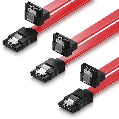 deleyCON 3X 50cm SATA III Kabel S-ATA 3 Datenkabel 6 GBit/s Verbindungskabel Anschlusskabel für HDD SSD - Metall-Clip - 1x Gerade 1x 90° L-Type Stecker - Rot
