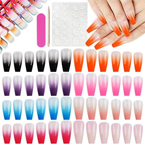 Falsche Nägel, Kalolary 192 Stück 12 verschiedene Größen Künstliche Farbverlauf falsche Nägel Full Cover Gefälschte Nagelspitzen Acryl False Gel Nägel mit 24PCS Nagelkleber Aufkleber