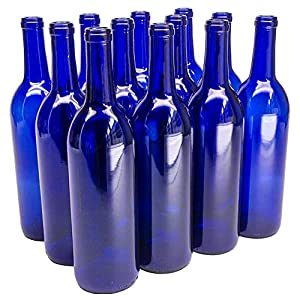 North Mountain Supply - W5-CB 750ml Glass Bordeaux Wine Bottle Flat-Bottomed Cork Finish - Case of 12 - Cobalt Blue |