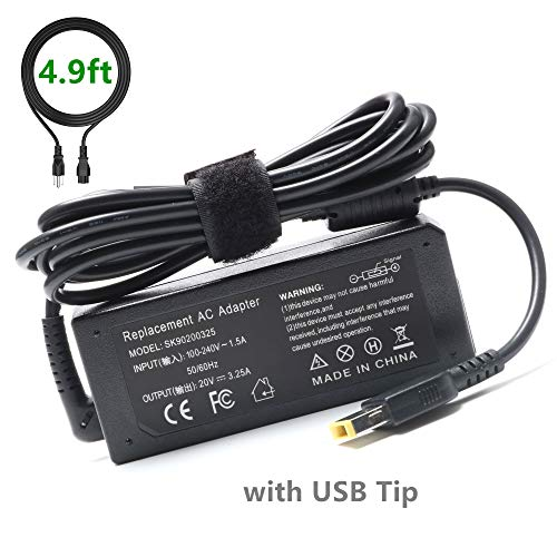 65W 45W USB Slim-Tip AC-Adapter-Charger for Lenovo-ThinkPad Yoga, X1 Carbon, T470 T470S T460 T450 T440 Z50-70 ADLX45DLC2A Laptop-Power Supply Cord