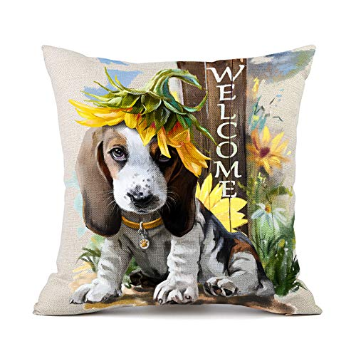 Moyun Basset Hound Dog Sunflowers Pattern Cotton Linen Throw Pillowcase Cushion Cover Car Sofa Home Decor 45 x 45 cm