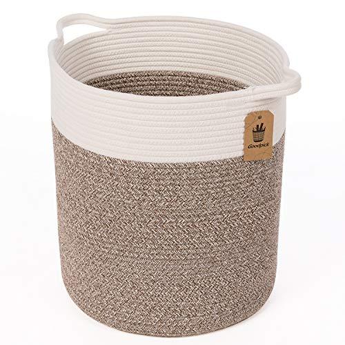 INDRESSME Groß Korb geflochten aus Baumwolle Seil Wäschekorb mit Griffen Aufbewahrungskorb von Spielzeug im Kinderzimmer, D33 x H38 cm