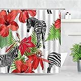 Cortinas de Ducha de Plantas Tropicales Mono Cebra Leopardo Animales Salvajes árboles Cortina de baño Impermeable Cortina de baño S.18 150x180cm