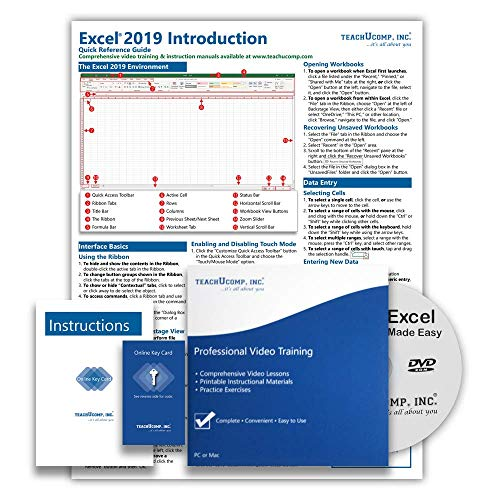 Microsoft Excel 2019 and 365 DELUXE Training Tutorial Course- Video Lessons, PDF Instruction Manual, Printed and Laminated Quick Reference Guide, Testing Materials, and Certificate of Completion