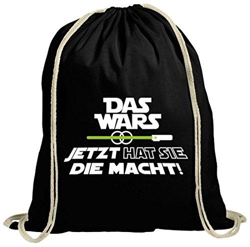 Shirtstreet24 Junggesellenabschieds natur Turnbeutel mit JGA 45 Das Wars - Jetzt hat sie die Macht Motiv Premium, Größe: onesize,schwarz natur