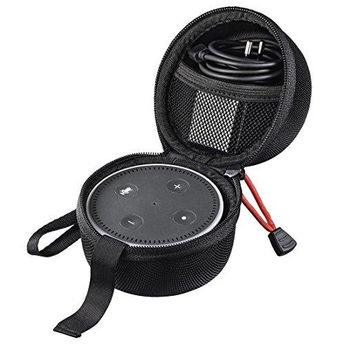 Hama Tasche für Amazon Echo Dot, 2. Generation (Transport Tragetasche inkl. Gurt & Netzfach, aus EVA-Material) Schutzhülle/Hülle schwarz