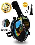 Mask Full Face Snorkel- EasyBreath- 180⁰ Panoramic Seaview- Rainbow Mirror Lenses HD- Design Scuba Mask- Diving Mask- Anti-Leak & Anti-Fog- Adjustable Silicone Straps (Carbon, L/XL)