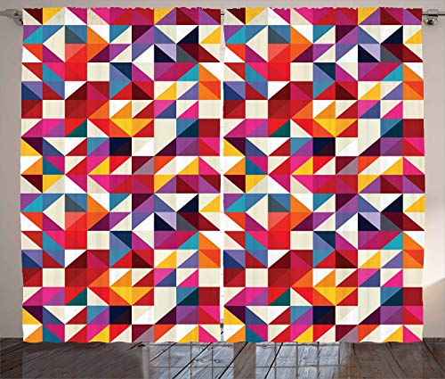 ABAKUHAUS Geometrisch Rustikaler Vorhang, Bauhaus-Art-Muster, Wohnzimmer Universalband Gardinen mit Schlaufen und Haken, 280 x 225 cm, Mehrfarbig