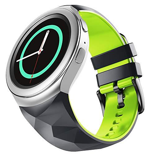 WIIKAI Correa de repuesto para reloj, compatible con Samsung Gear S2, correa de reloj. (verde oscuro)