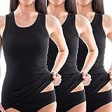 HERMKO 1325 3er Pack Damen Longshirt ideal für drüber und drunter (Weitere Farben) aus 100% Bio-Baumwolle, Farbe:schwarz, Größe:44/46 (L)