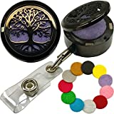 Custom One-Piece Aromatherapy Essential Oils Stainless Steel Diffuser with Elegant Locket-Style Lid Retractable Heavy Duty Belt Clip ID Badge Holder (BK Tree of Life)