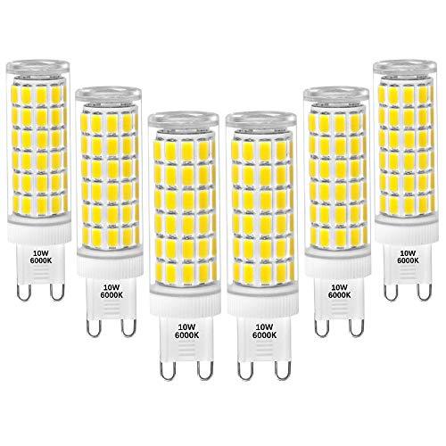 G9 GU9 LED Kleine Leuchtmittel Lampen Birnen 10W SMD5730 LED Kaltweiß 6000K Flimmerfrei 900Lm AC100-265V Viel Heller als 60W G9 Halogenlampe 6er Pack von Enuotek