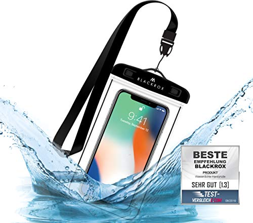 BLACKROX wasserdichte Handyhülle - Handyschutz Wasserfeste Handytasche Cover Beutel Beachbag Tasche Handy Hülle Waterproof Case iPhone X/XS 8 7 6s Samsung S10 S9 S8 S7 (Schwarz)