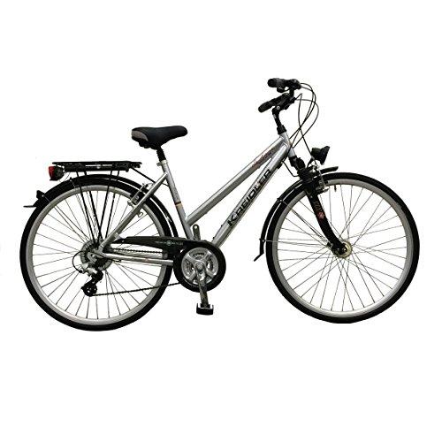 Fietsfiets damesfiets stadsfiets Kreidler Le Havre zilver trekkingfiets fiets fiets framehoogte 45 cm