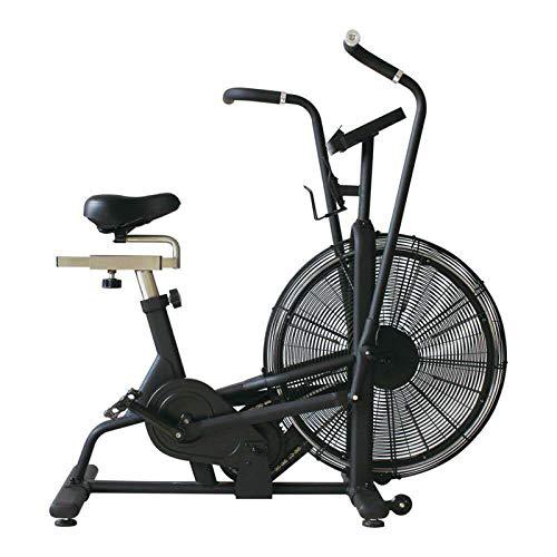 Sanhai Fan Ejercicio Bicicleta Vertical Airbike Indoor Ciclismo Bicicleta estacionaria con Sistema de Resistencia al Aire Ilimitado, compatibilidad con frecuencia cardíaca,A