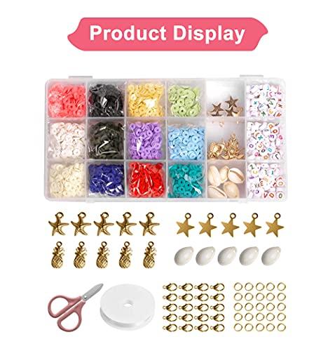 2600 cuentas de arcilla polimérica plana de 6 mm, separadores sueltos para pulseras, pendientes, collares, fabricación de joyas