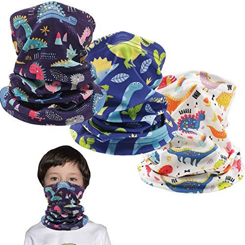 Kids Ski Mask Fleece Neck Gaiter Warmer Winter Face Cover Scarf Balaclava for Boys Girls (Dinosaur 3PCS)