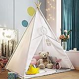 Tipi tienda de campaña para niños, tienda de juegos, interior de algodón, tienda para niños, casa de juegos, regalos para niños (blanco/120 x 120 x 145 cm)