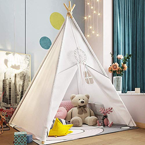 Kids Teepee Tent for Kids, Kids Play Tent for Girls & Boys, Gifts Playhouse for Kids Indoor Outdoor Games, Kids Toys House for Baby with Colored Flag & Feathers & Carry Case (Teepee Tent for Kids)