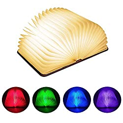 Lavcus Faltbare LED Buch lampe, 360° Faltbar 5 Farbmodi Buchlampe, Hölzerne faltende Buch-Lampe, USB wiederaufladbar Tischleuchte, Nachttischlampe, dekorative Lampen