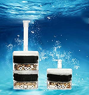 B&K –Aquarium Fish Tank Corner Filter Aquarium Fish Tank Internal Air Driven Filter with Media - Small