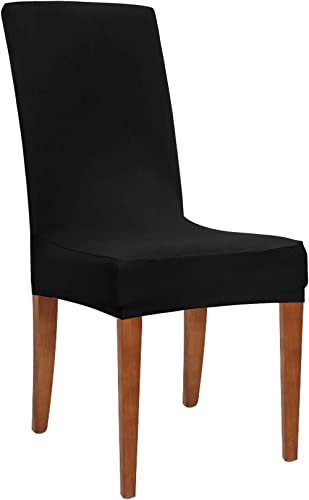 Obstal Black Stretch Spandex Dining Room Chair Covers – Set of 4 Universal Removable Washable Chair Seat Slipcovers P...