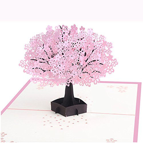 3D Pop up Card Cherry Blossom Card Birthday Card Funny Pop up Greeting Card for All Occasions Anniversary Wedding Card Thank You Card Valentine's Day Dating Card Blank
