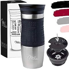 Milu Termo Taza 370ml, 450ml - Vaso Termico de Viaje - Café para Llevar - Taza de Viaje - Taza de acero inoxidable para beber - con aislamiento de doble pared (370ml, Negro)