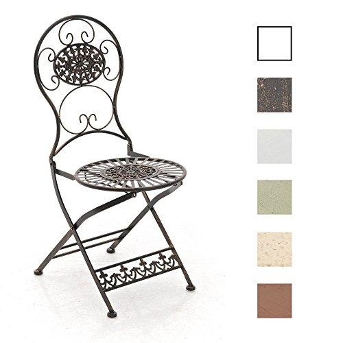 CLP Eisen-Klappstuhl MANI im Jugendstil I Antiker handgefertigter Gartenstuhl aus Eisen I erhältlich, Farbe:Bronze