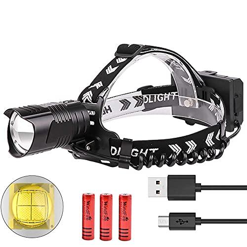 YXYY Linterna Frontal Impermeable LED súper Brillante Linterna Frontal de Alta Potencia 12000 lúmenes USB Recargable Enfoque Ajustable 3 Modos de iluminación Faros Delanteros LED Linterna Ligera