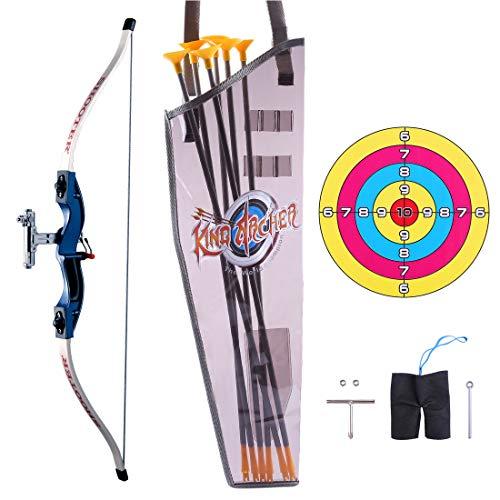 ReallyPow Pfeil und Bogen Set, Bogenschießen Set mit 6 Pfeilen, 1 Ziel, Pfeilbogen Set für Kinder und Jugend - Blau