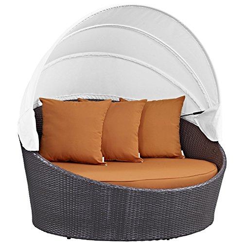 Modway Convene Wicker Rattan Outdoor Patio Retractable Canopy Round Poolside Sofa Daybed in Espresso Orange