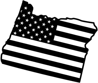 ND396 State Of Oregon Flag Decal Sticker | 5.5-Inches By 4.6-Inches | Premium Quality Black Vinyl