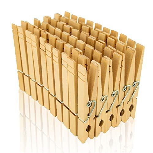 Holz Wäscheklammern Lot de 50 pinces à linge en bois de bouleau naturel 84 mm