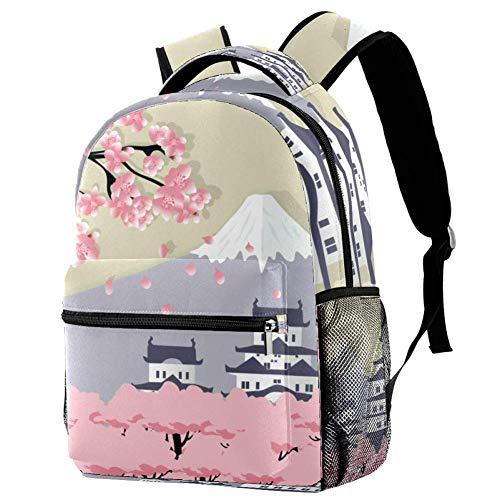 Mochila Niña Castillo japonés de Dibujos Animados Mochila Escolar Impresión Linda Mochila de Viaje para Adolescentes Niña 29.4x20x40cm