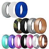 FineGood 14 piezas de anillo de bodas de silicona para hombres y mujeres, 12 tamaños, anillos de goma antibacterianos para bodas