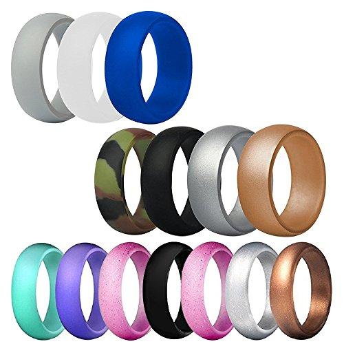 FineGood 14 stks Siliconen Trouwring voor Mannen Vrouwen, 12 Maten Rubber Bruiloft Bands Duurzame Comfortabele Antibacteriële Ringen - Multi-kleuren
