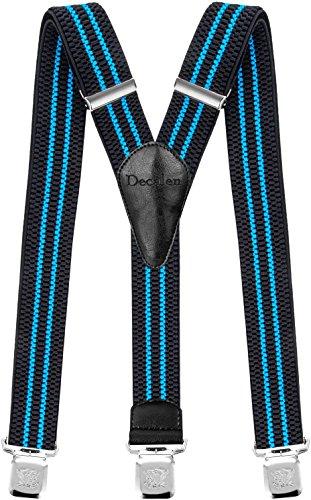 Decalen Hosenträger für Herren breit extra starken Clips Y Form Lang Eine Größe Passt Alle Männer und Damen Verschiedenen Farben (Schwarz Blau)