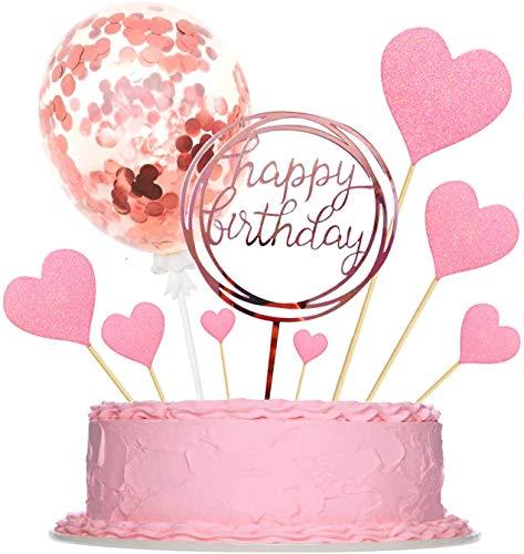 Sinwind Tortendeko Happy Birthday Kuchendeckel Rosegold Geburtstag Heart Kuchen Dekoration für Baby Freunde Familie Glitter Rosa Rosegold Herzen Größe