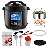 MOOSOO 12-in-1 Electric Pressure Cooker Instant Programmable Pot, Slow Cooker, Steamer, Sauté, Rice Cooker, Yogurt Maker, Cake Maker, Egg Cooker, Sterilizer and Warmer with ETL Certified, 10+ Accessories, 6 Quart, Black