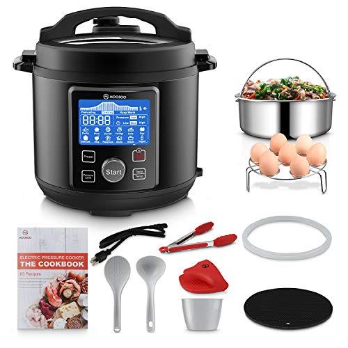 MOOSOO 12-in-1 Electric Pressure Cooker Instant ProgrammablePot, Slow Cooker, Steamer, Sauté, Rice Cooker, Yogurt Maker, Cake Maker, Egg Cooker, Sterilizer and Warmer with ETL Certified, 10+ Accessories, 6 Quart, Black
