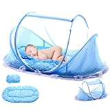 HOXMOMA Cama de Viaje para bebés, Cuna emergente portátil, Tienda de Playa para bebés Ultraligera, Cuna de Viaje con colchón, Mosquitera Plegable para recién Nacidos,Azul