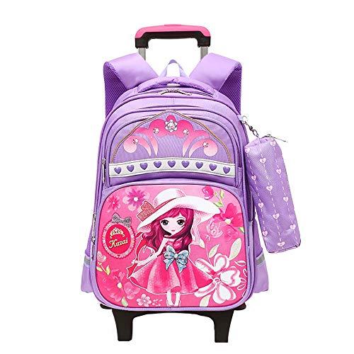 Kids Trolley Bag with Wheels Child School Wheeled Luggage Bag Trip Zipper Backpack for Boys Girls Children Student GWBI-purple