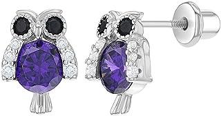 925 Sterling Silver CZ Purple Owl Screw Back Earrings for Girls or Teens