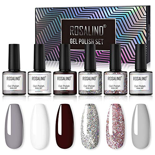 ROSALIND UV Gel Nagellack Nackt Grau Glitzer Nagellack Pure Color UV LED Gel Lack Nagel Starterset 6 Color 10ml Kit
